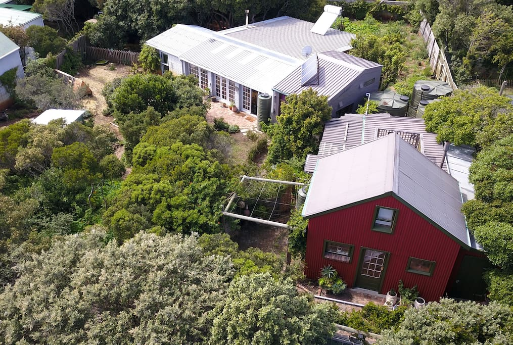 Aerial shot of the whole property, a developing permaculture site practising self-sufficiency.