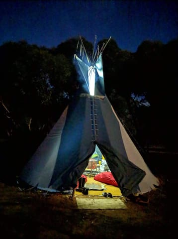 TIPI NO KIDS bring swags and camp out in a tipi