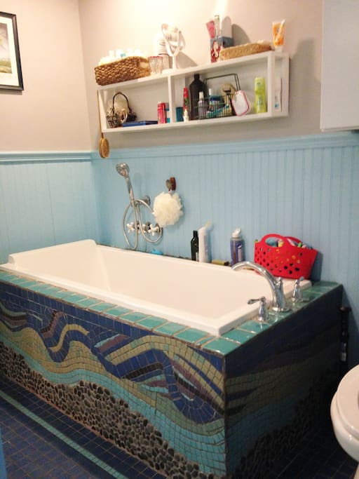 A soaking tub in the bathroom.