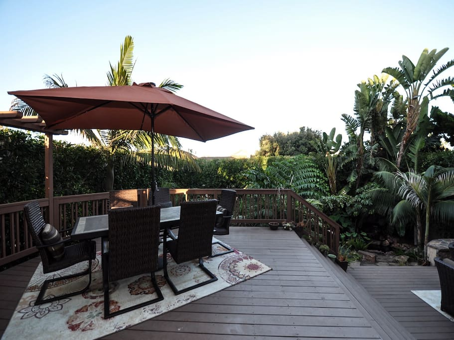 Your private outdoor space with lush landscaping