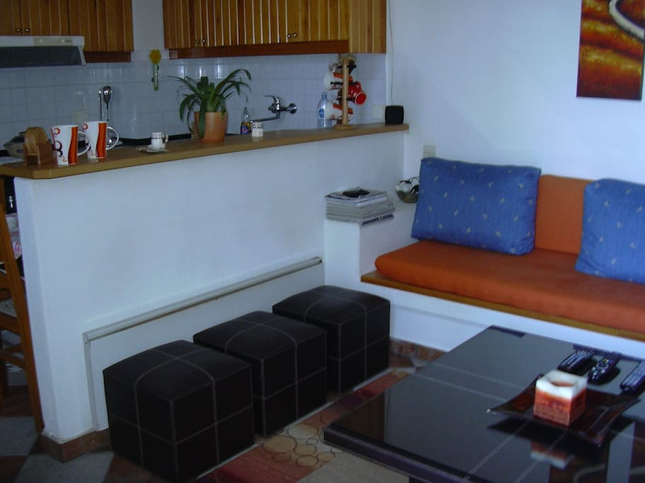The sitting area with open-plan equipped kitchen.