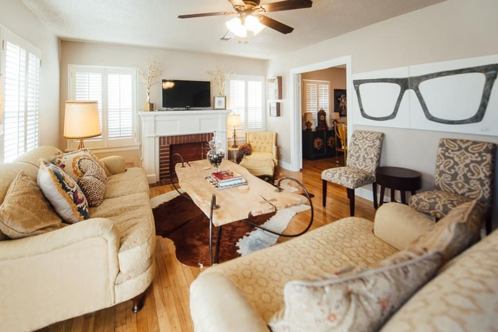 As you enter the front door, rest your eyes on the living space. The deep couch makes a great extra sleeping space.