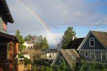 The neighbor is beautiful but rainbows are rare.