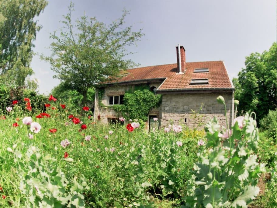 Grange vue du jardin.