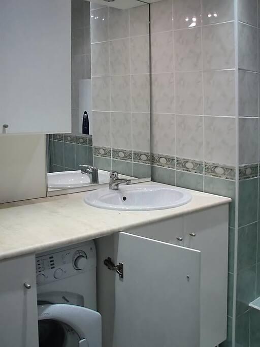 bathroom with wash machine