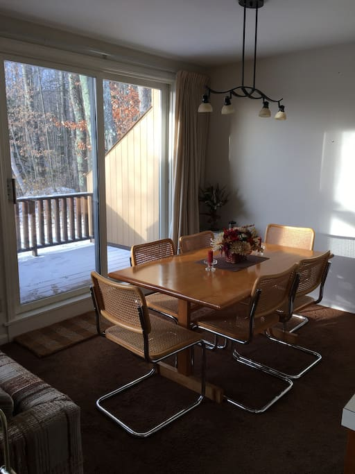 Dining area with deck access