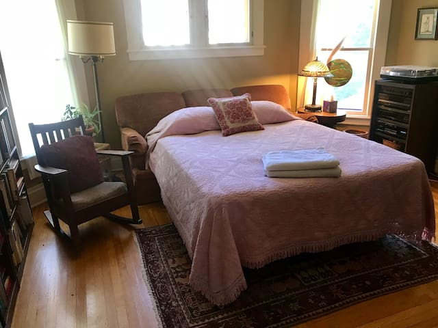 The third bedroom is usually used as an office/library, but has a Queen pull-out bed with a topper, which can be used for guests who require it. This is an east-facing bedroom and receives morning light.