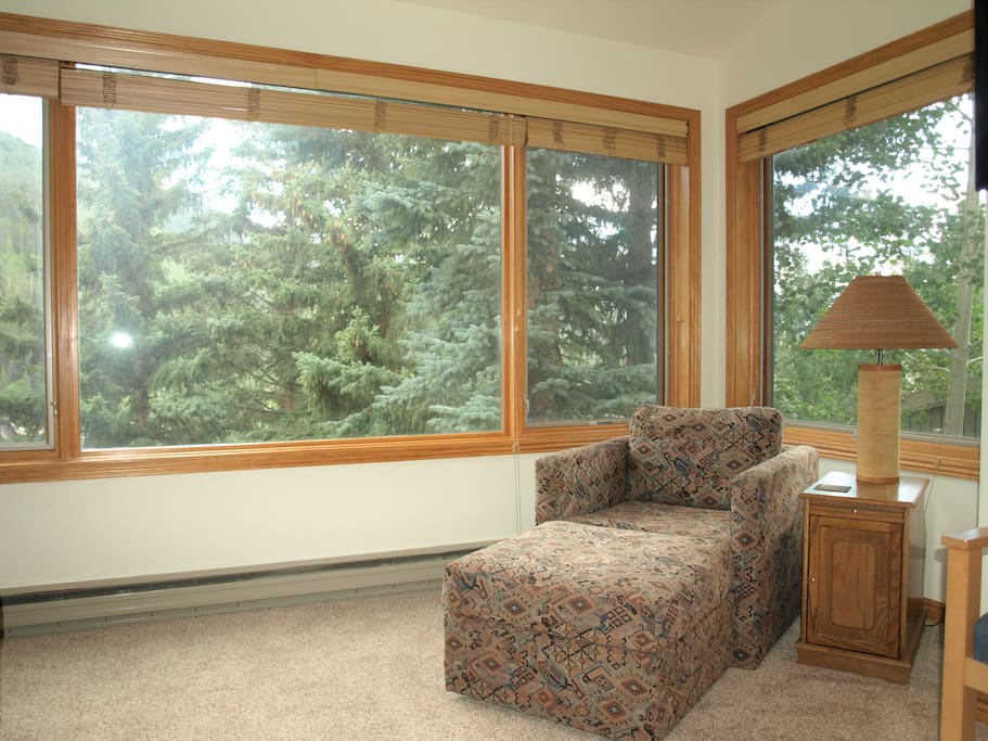 Enjoy mountain views from this comfy chair in great room