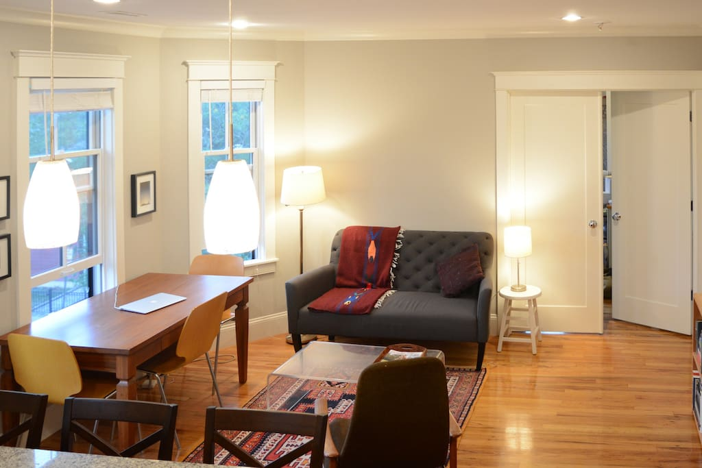 Relax with a book in our cozy living/dining room