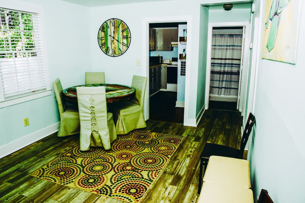 Eating area and entry way leading into your kitchen, bathroom, and bedrooms