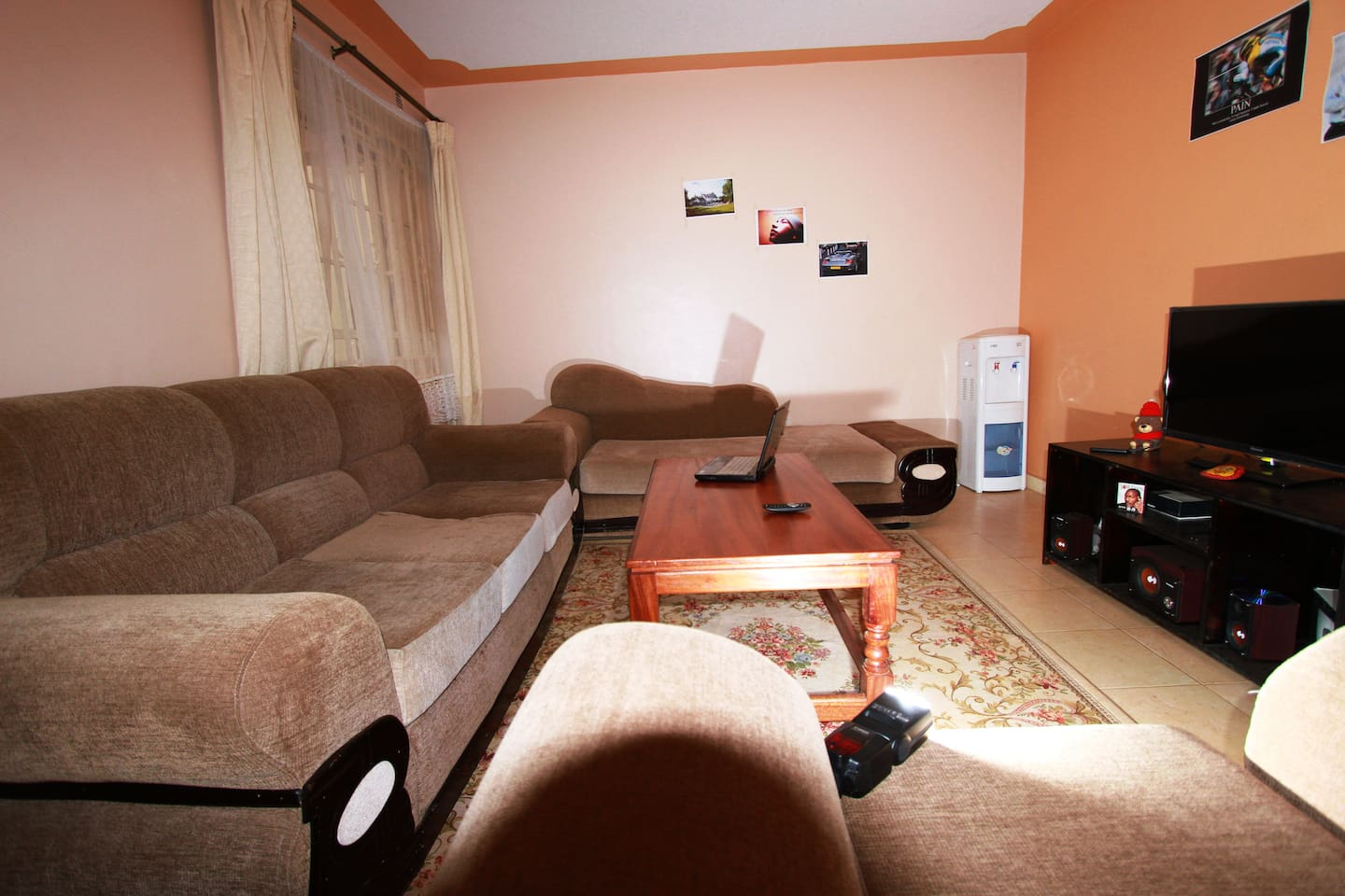 Here's the living room. It's bigger than it appears and guests tell me it looks better than the pictures.
