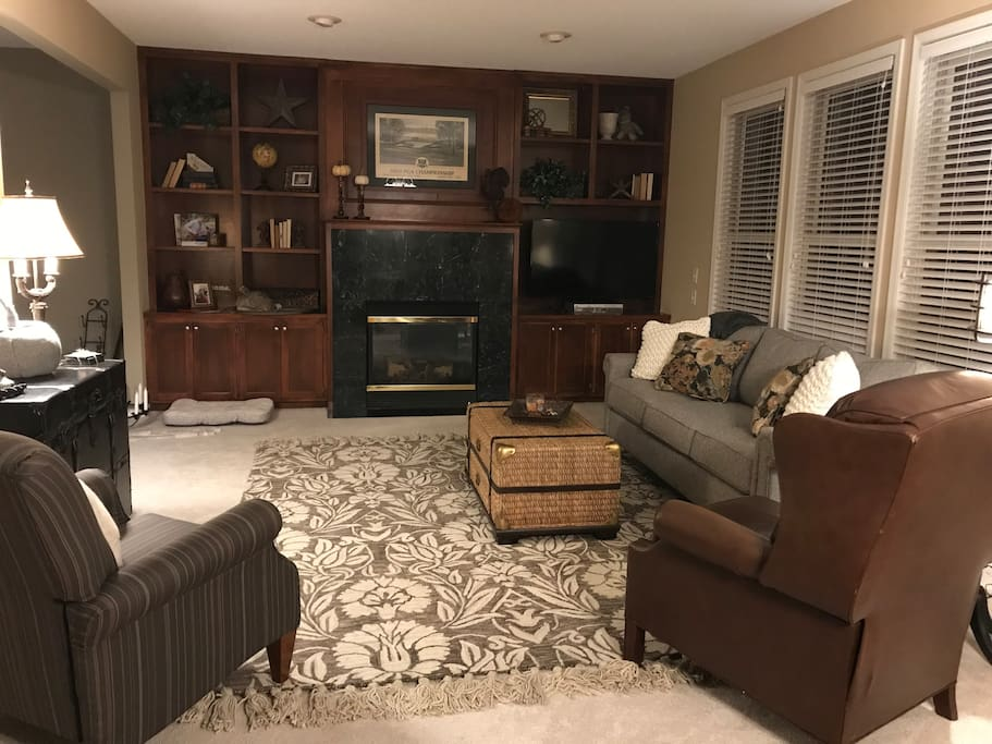 Family Room on main floor complete with gas fireplace