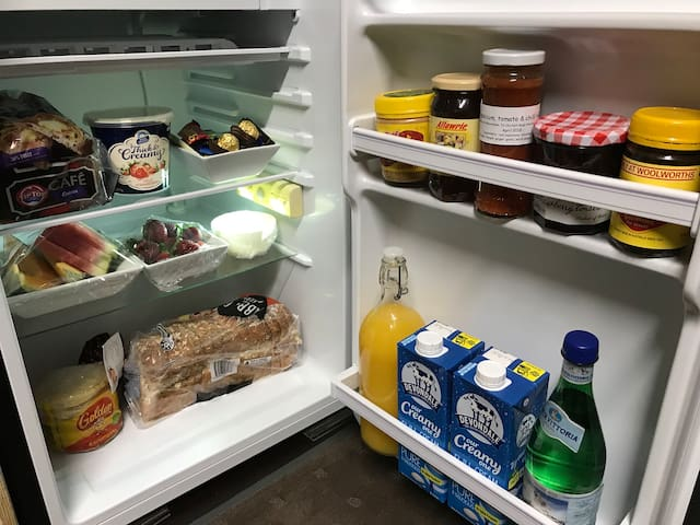 Your fridge stocked with breakfast supplies.