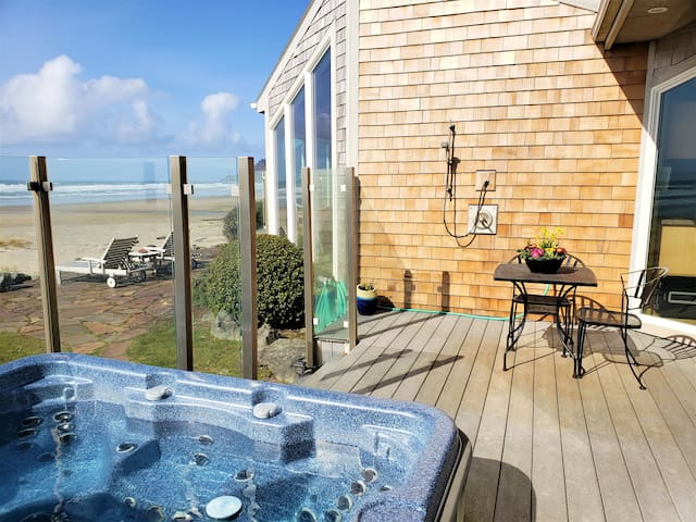 You'll have unobstructed views of the ocean from our hot tub.