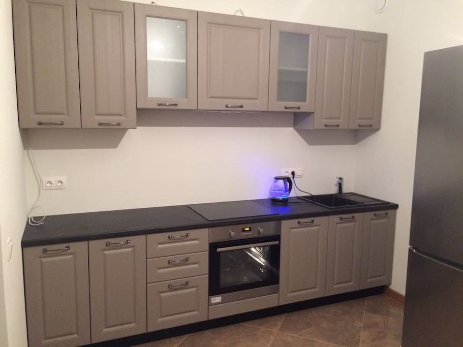 Big new kitchen: dishwasher, electric cooker, oven, microwave, refrigerators etc.