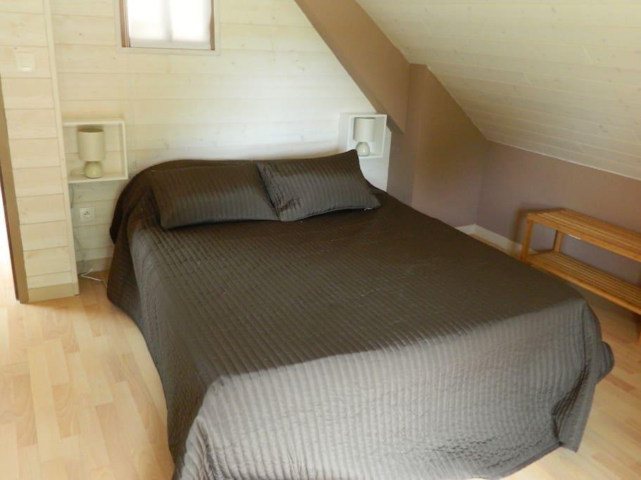 chambre Cosy , 1 lit de 2 places + 1 lit d'une place , salle de bain et toilette à proximités