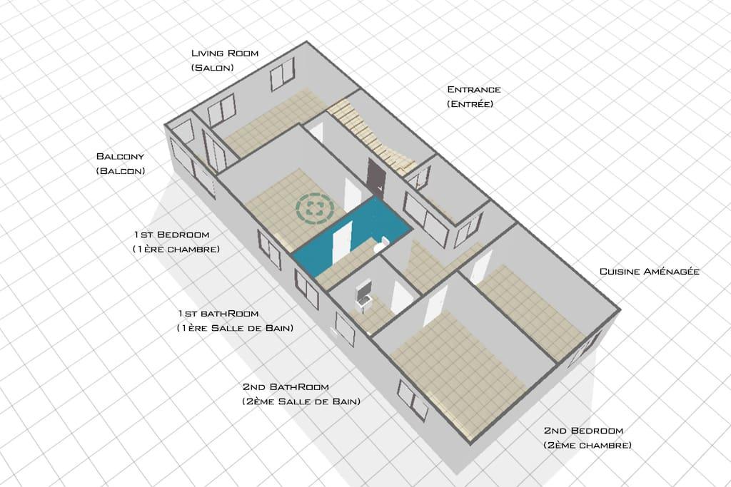 2 chambres salon/SAM de 100m²