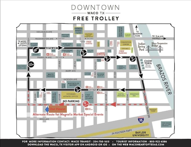 Map of Downtown and the Free Trolley Route