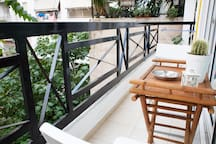 Balcony with external table .