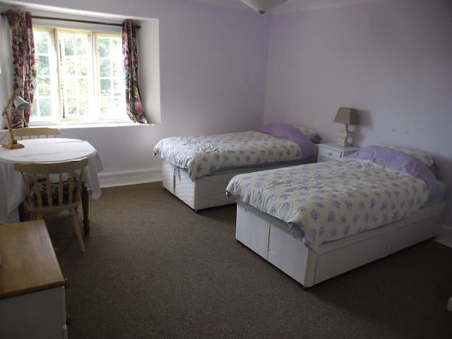 Fyfett Farm,  Neroche Bedroom  , three single beds - Otterford