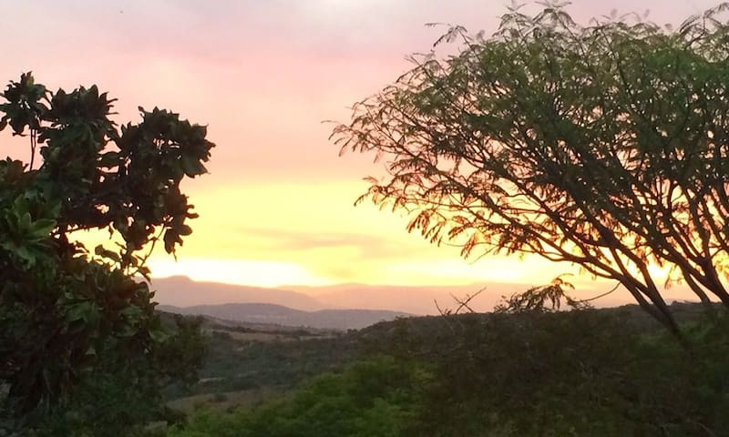 A VIEW FROM THE POOL, SUNSET IN THE VALLEY