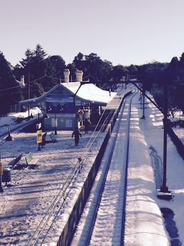 Blackheath Railway Station in the snow - no trains! (August 2015)