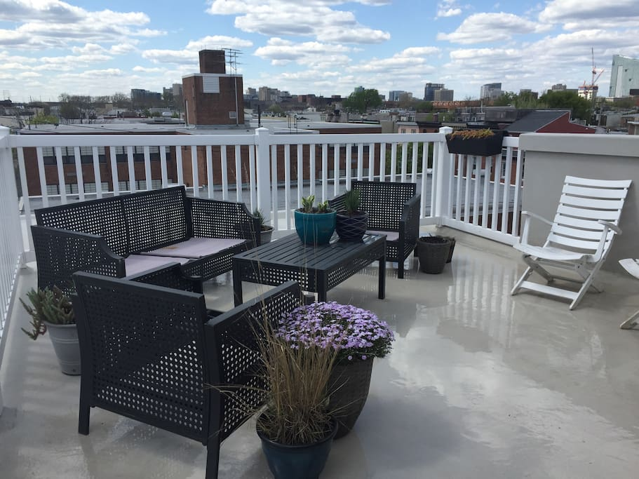 The roofdeck is a great place to relax