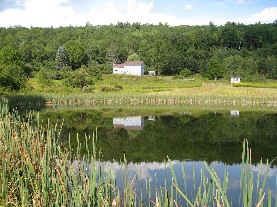 House from Pond. Private 140 Acres.