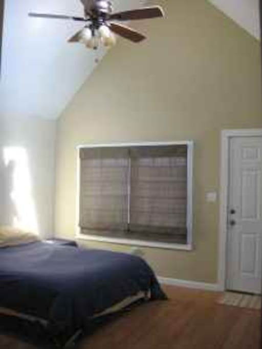 This private room is has high ceilings and a large skylight with a private entrance.  It's in the rear of the house next to the bricked back yard.