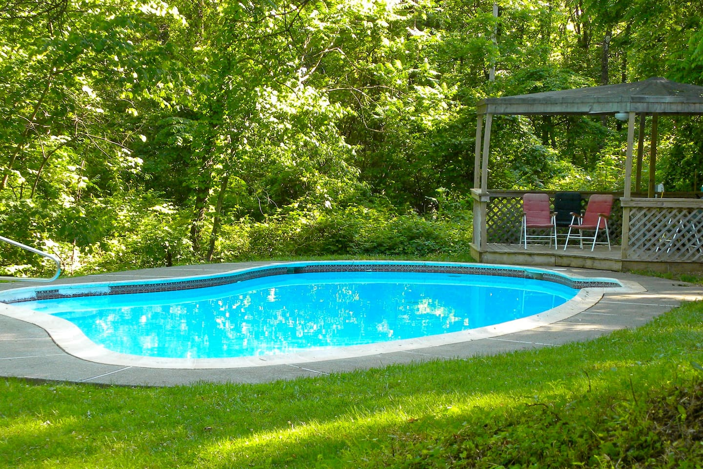 The shared seasonal salt water swimming pool is available to all of our guests. It is open Memorial Day to Labor Day.