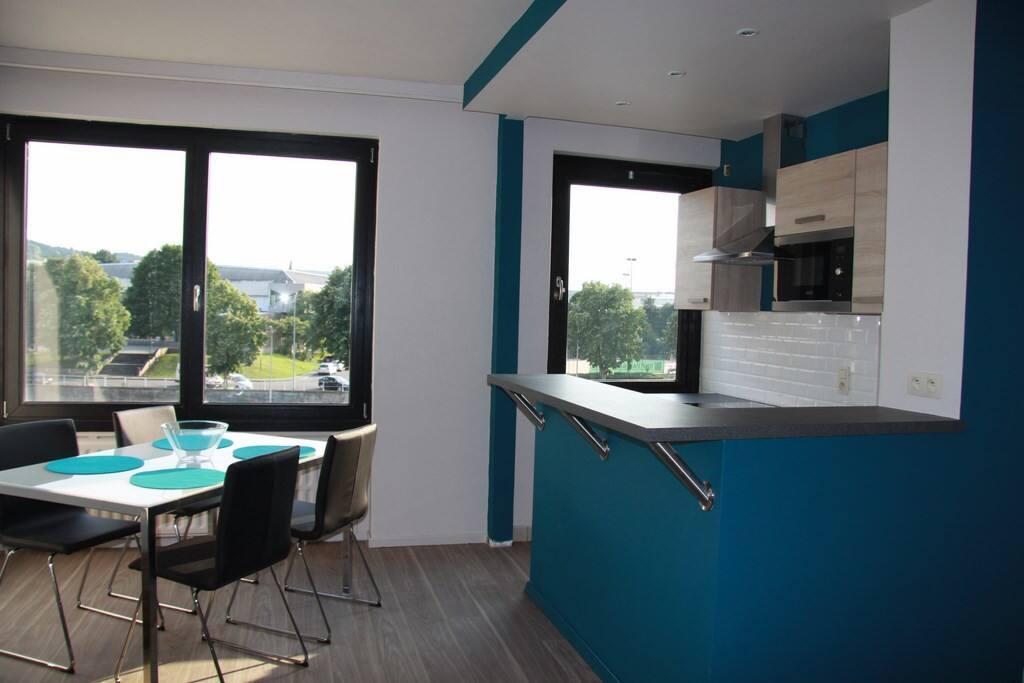 Salon/salle à manger avec cuisine équipée neuve Totalement rénové été 2015 Pas de vis-à-vis Vue ++sur Sambre
