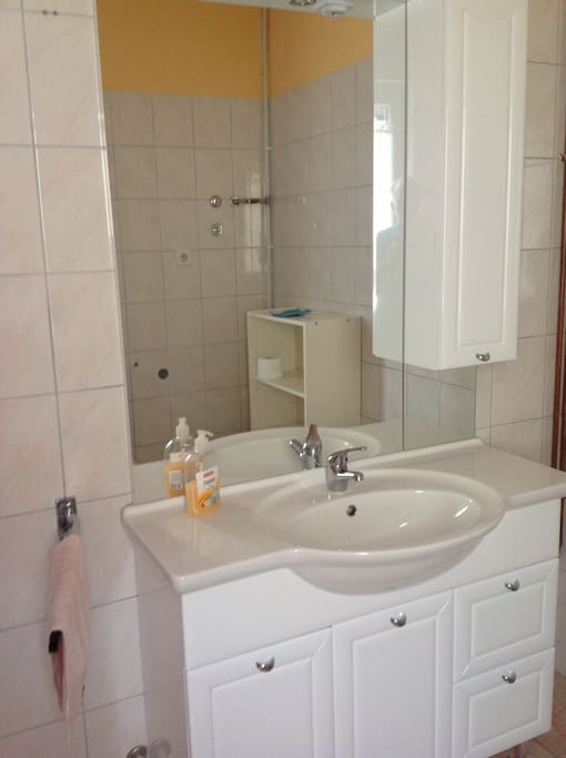 Das Badezimmer mit Waschbecken, Dusche und WC.
