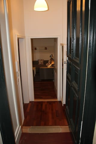 Der Eingang, links zum Bad, direkt zum Wohn- und Schlafzimmer