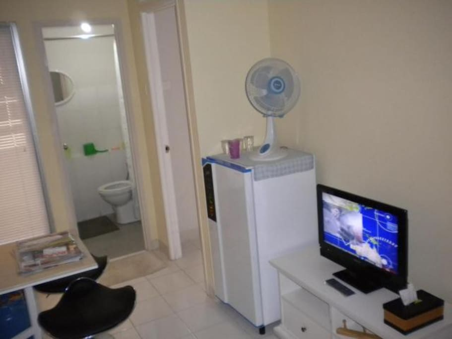 Shower room, refrigerator and cable TV.