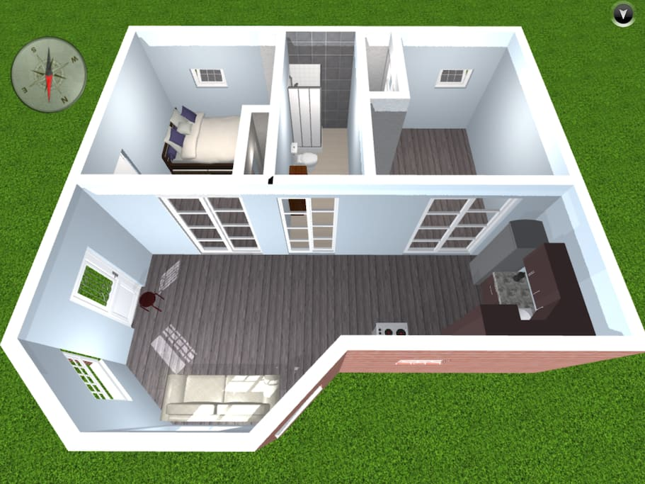 Here's the floor plan.  The bedrooms are about 150 sq ft. There is a bed in each room, just not shown in this pic.