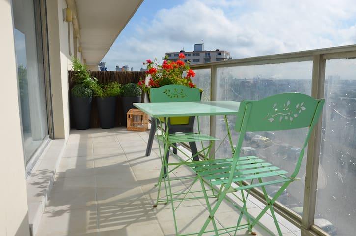 Studio plage vue ville balcon pk - Calais - Apartment