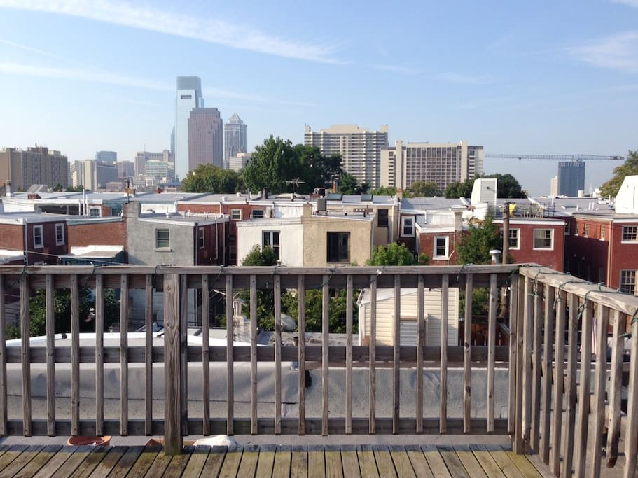 Roof deck with views of the city skyline and blocks from the Pope!