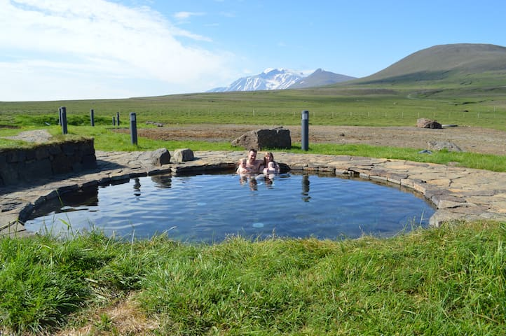 Larger hot spring and Mt. Snæfell in background