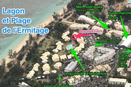 Studio Pieds dans l'eau plage et piscine Nauticlub