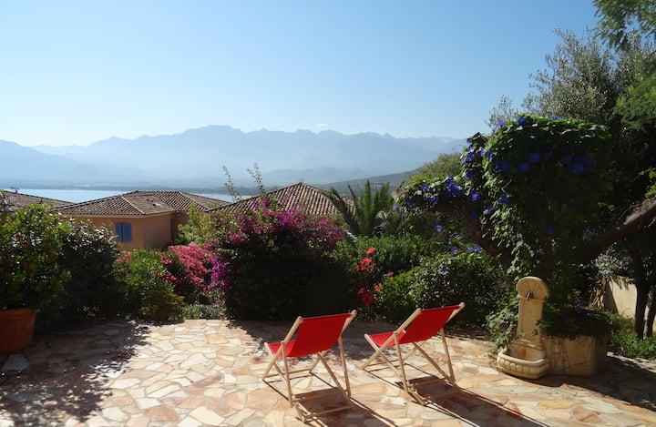 Vue sur la baie de Calvi avec Terrasse et Jardin