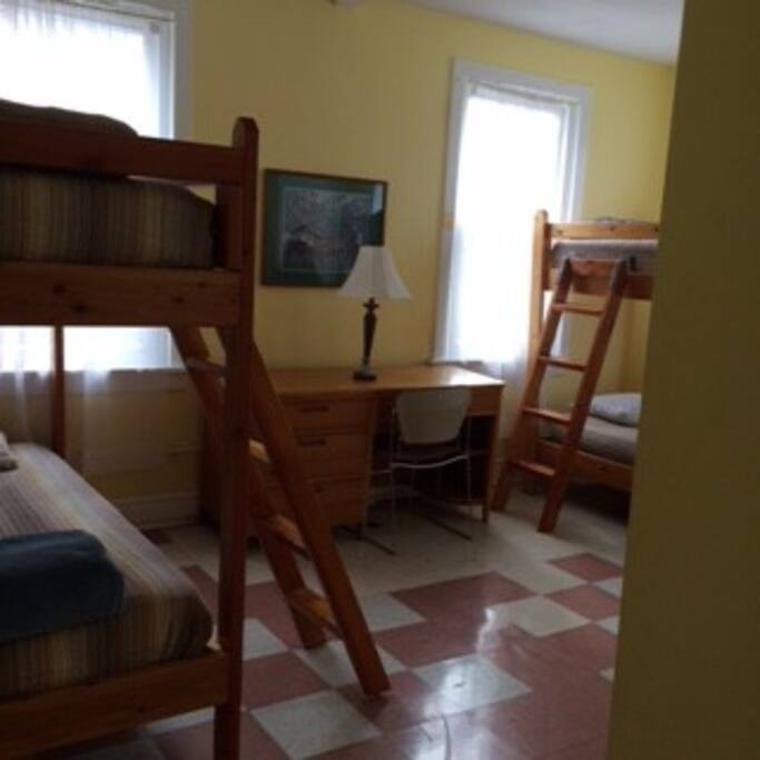 Spacious bedrooms.  5 bedrooms with 4 rooms and 2 bedrooms with 2 beds that sleep a total of 24 people.
