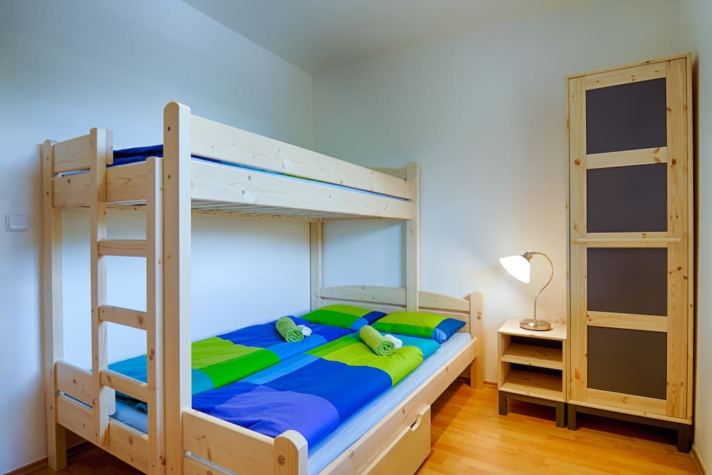 Bedroom - bed for three people.