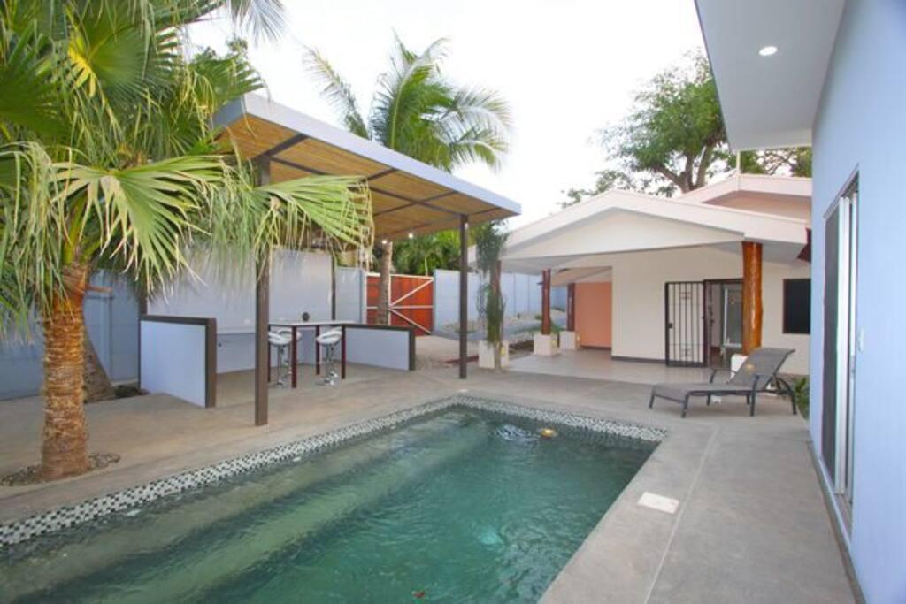 Pool area, open kitchen area