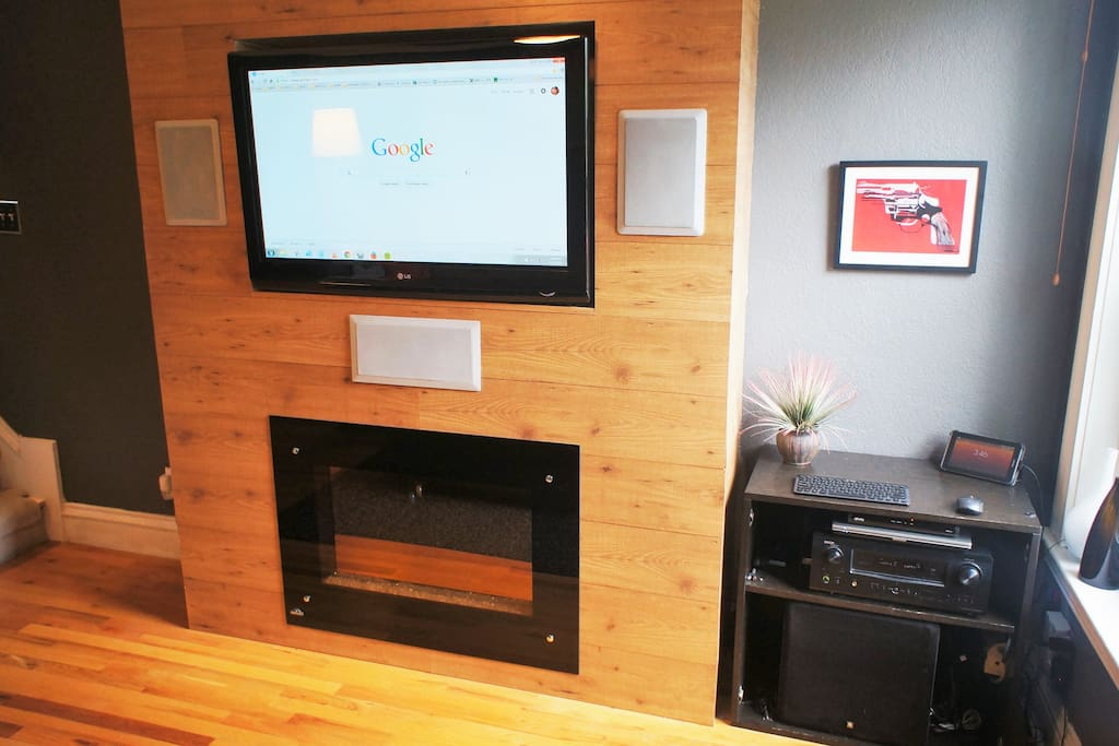 Built-in media center and electric fireplace.