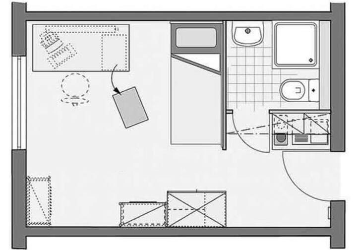 Ein-Zimmer-Wohnung in Nähe Universität & Stadion