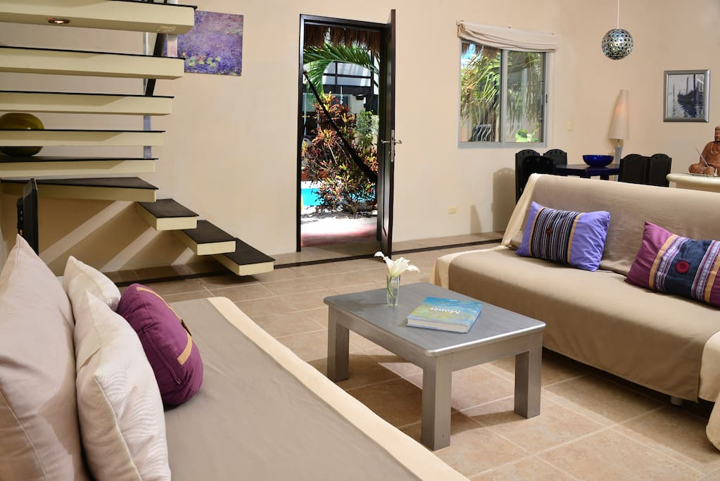 Living area has a fold out sofa futon and twin bed for extra guests