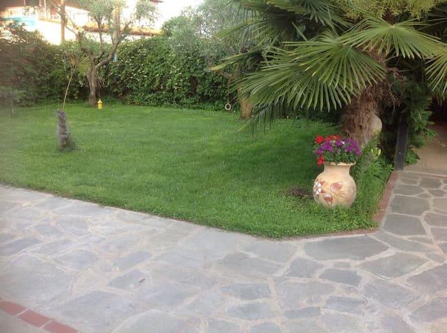 Quaint cobblestone paths through the garden.