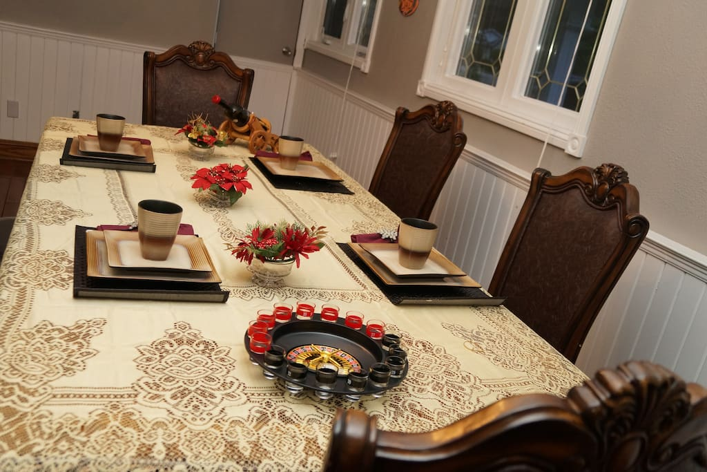Dining room with 6 chairs with the hutch