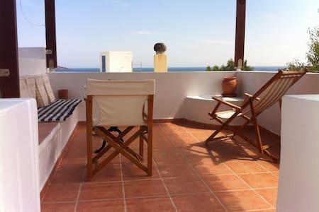 Small House with Loft and Verandas - Leros