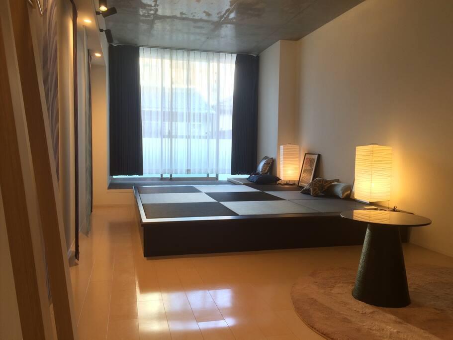 stylish modern  room where Western and Japanese harmonized